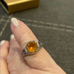 Sterling Silver Basket Setting Citrine Ring